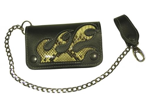 Pénztárca Bőr pénztárca rövid, kígyós betétes, 3 része